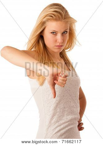 Young Blonde Woman With Blue Eyes Gesturing Failure And Ange With Showing Thumb Down Isolated Over W