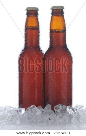 Two Brown Beer Bottles In Ice
