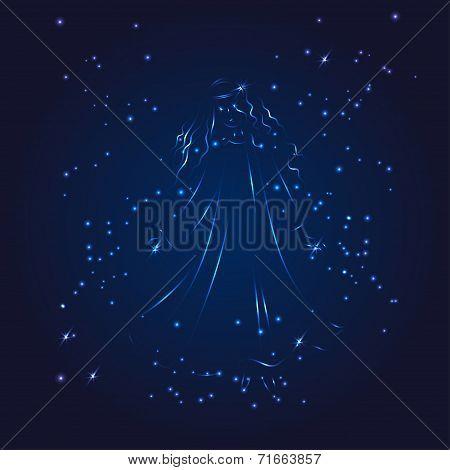 Virgo zodiac whith glitter star