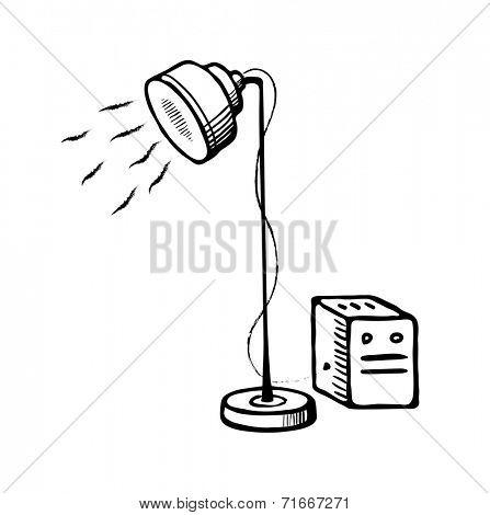 Studio lighting. Vector sketch illustration on white background