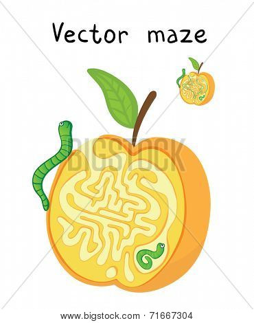 Vector Maze, Labyrinth education Game for Children with Apple and Worms.