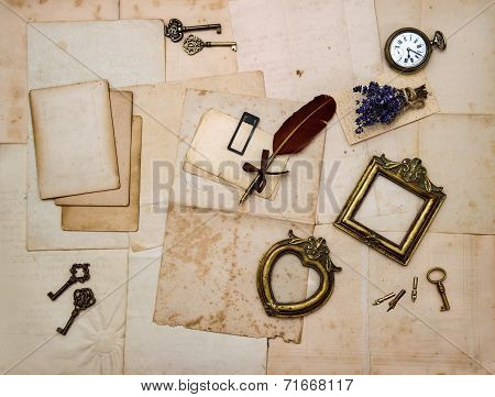Picture Frames, Keys, Flowers, Old Letters