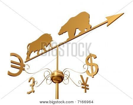 Financial Weather Vane 3D Over White