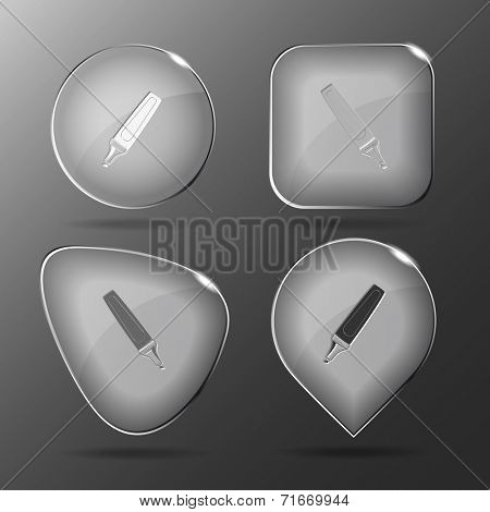 Felt pen. Glass buttons. Vector illustration.