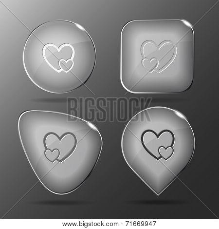 Careful heart. Glass buttons. Vector illustration.