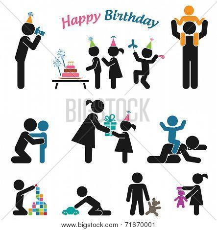 Happy birthday. Childhood vector set. Pictogram icon set. Children birthday party.