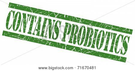 Contains Probiotics Green Square Grungy Isolated Rubber Stamp