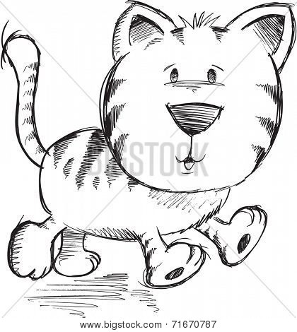 Cute Doodle Sketch Cat Vector Illustration Art
