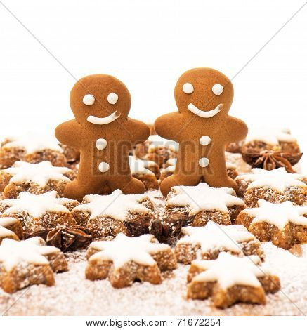 Gingerbread Man Cookie With Cinnamon Stars