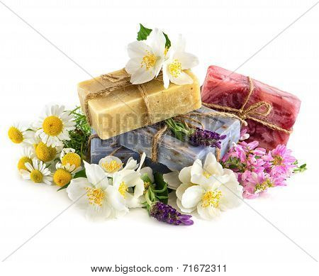 Soap Bars With Fresh Lavender And Chamomile Flowers