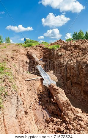 Repair Of The Underground Pipeline In Trench