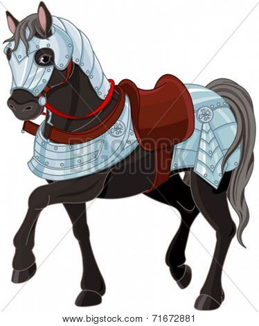 Illustration of black war horse