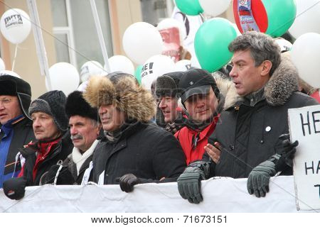 Ryzhkov, Aleksashenko, Kasparov and Nemtsov on the March for fair elections