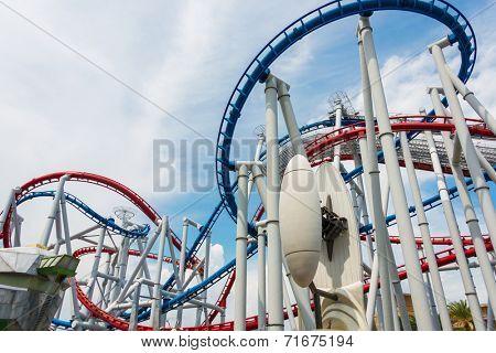 Railway of roller coaster in amusement park