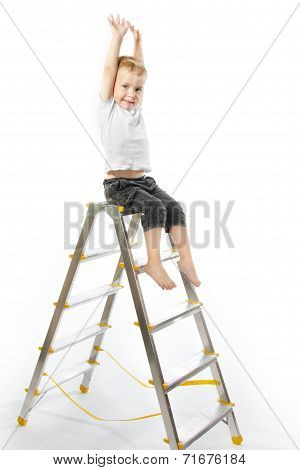 Kid Sitting On Top Of Stepladder, Hands Raise Up.