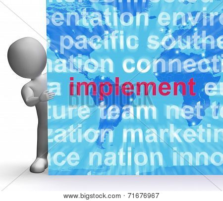 Implement Word Cloud Sign Shows Implementing Or Executing A Plan