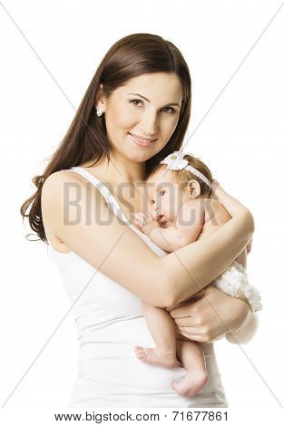Mother Baby Girl Portrait, Woman Holding Newborn Little Kid, New Born Child And Family Concept, Isol