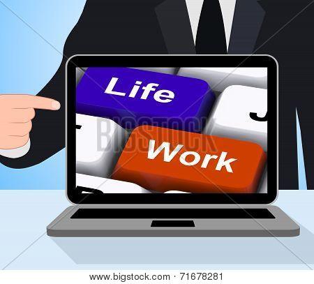 Life Work Keys Displays Balancing Job And Free Time
