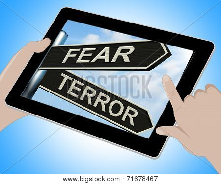 Fear Terror Tablet Shows Frightened And Terrified
