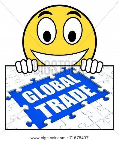 Global Trade Sign Shows Online International Business