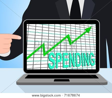 Spending Chart Graph Displays Increasing Expenditure Purchasing