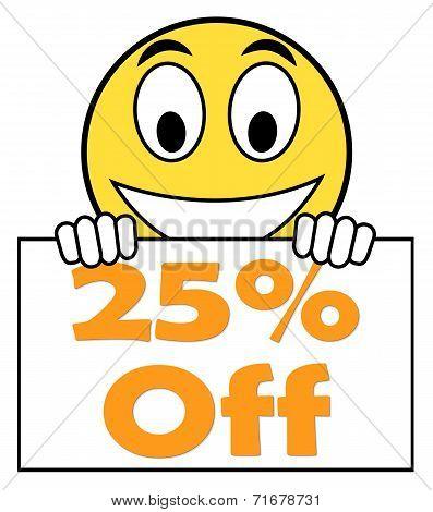 Twenty Five Percent Sign Shows Sale Discount Or 25 Off