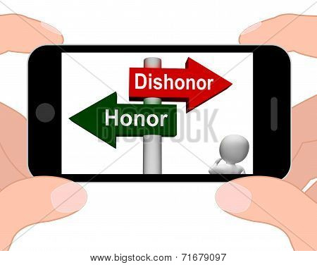 Dishonor Honor Signpost Displays Integrity And Morals