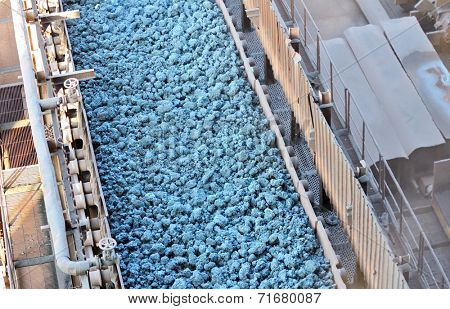 hot ore on conveyor inside of plant