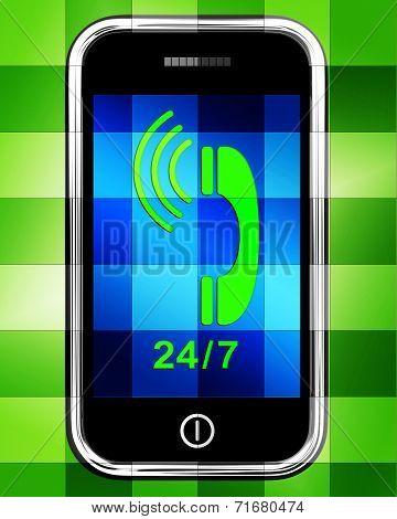 Twenty Four Seven On Phone Displays Open 24/7