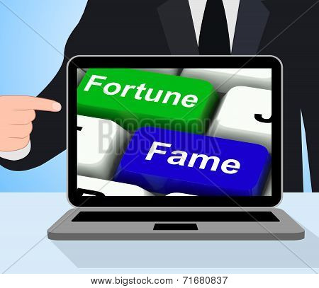 Fortune Fame Keys Displays Wealth Or Publicity