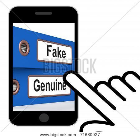 Fake Genuine Folders Displays Real Or Imitation Products