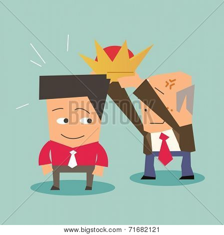 succession of leader in a company. Flat vector illustration