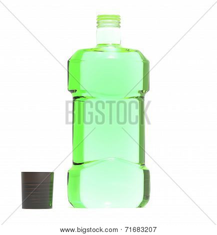 transparent bottle of mouthwash