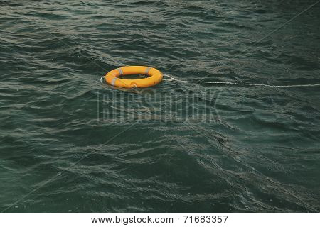 Lifebuoy in sea