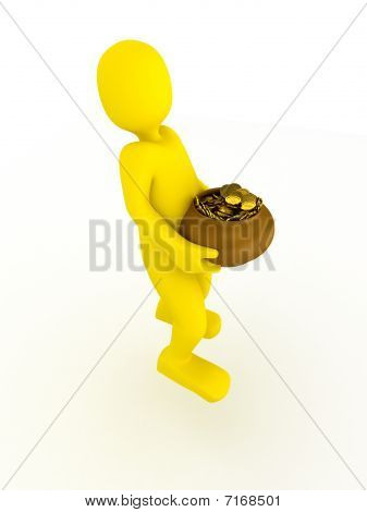 3d person with box over white background