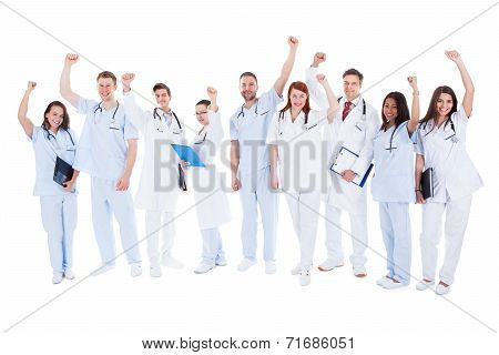 Successful Medical Team Standing Cheering