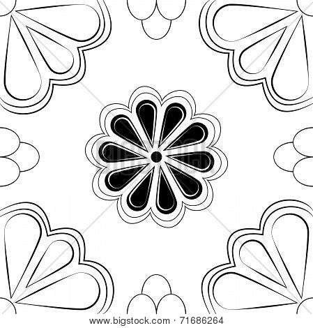Black & White Art Deco Stylized Flower
