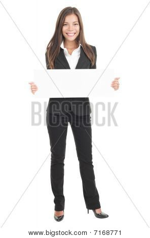 Businesswoman Holding White Sign / Poster