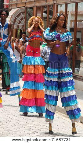 Dancers in street festival, Havana Vieja, Cuba
