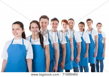 Large Group Of Cleaners Standing In A Line