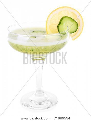 Cucumber cocktail with lemon isolated on white