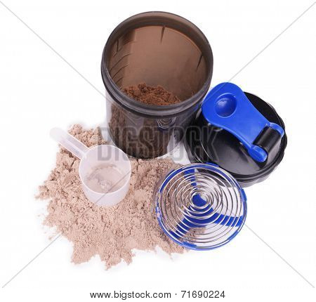 Whey protein powder with scoop and plastic shaker isolated on white