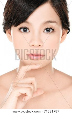 Close up health beauty of a smile woman face