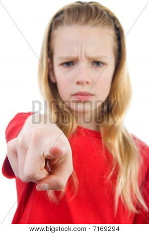 Angry Girl Is Pointing