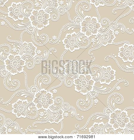 Flower seamless vector ornament. Hand drawn.