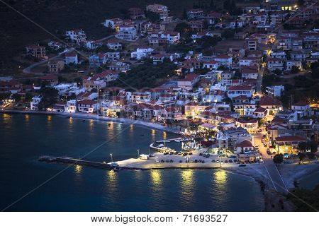Marina of Monemvasia at night time in Greece.