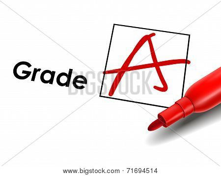 Close Up Look At Grade A On Exam Paper