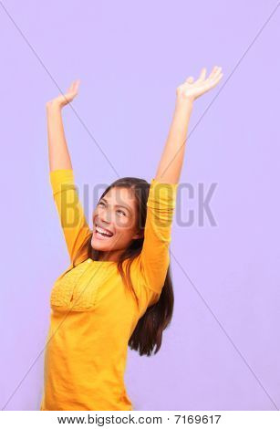 Happy Winner Asian Woman