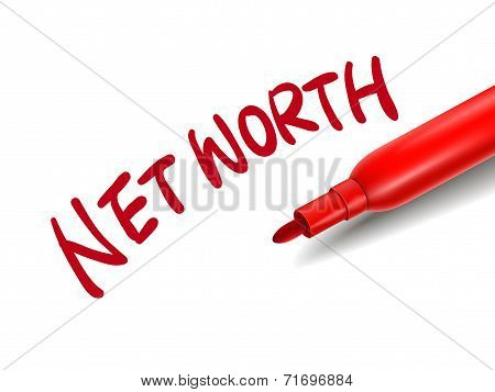 The Words Net Worth With A Red Marker