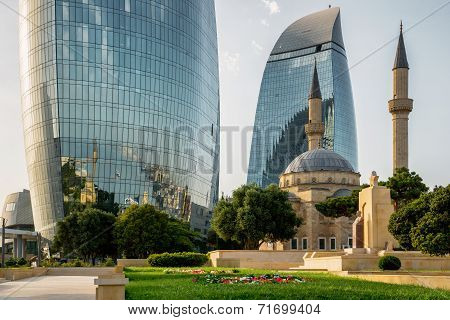 Baku, Azerbaijan - July 24:city View Of The Capital Of Azerbaijan, On July 24, 2014, With Great Mode